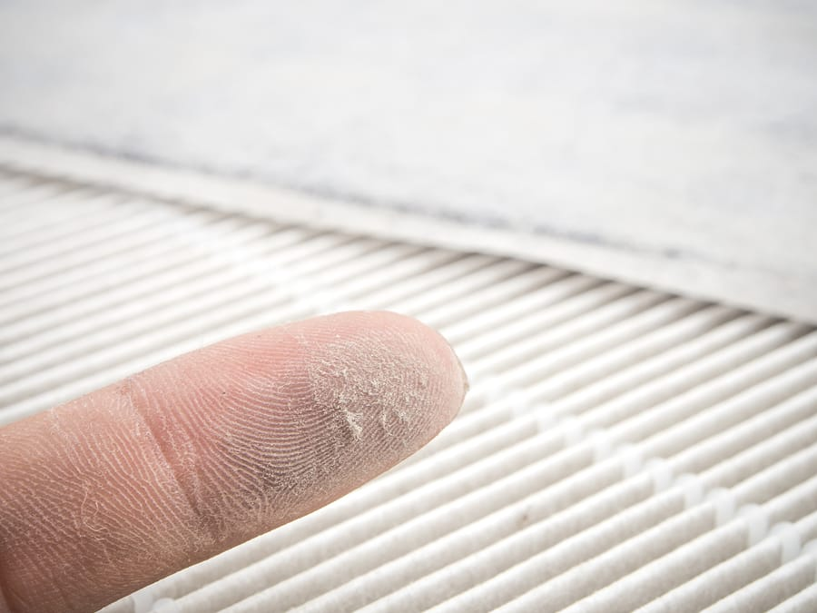Dirty air filter from an HVAC system