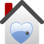 An illustration of a house with a blue heart in it
