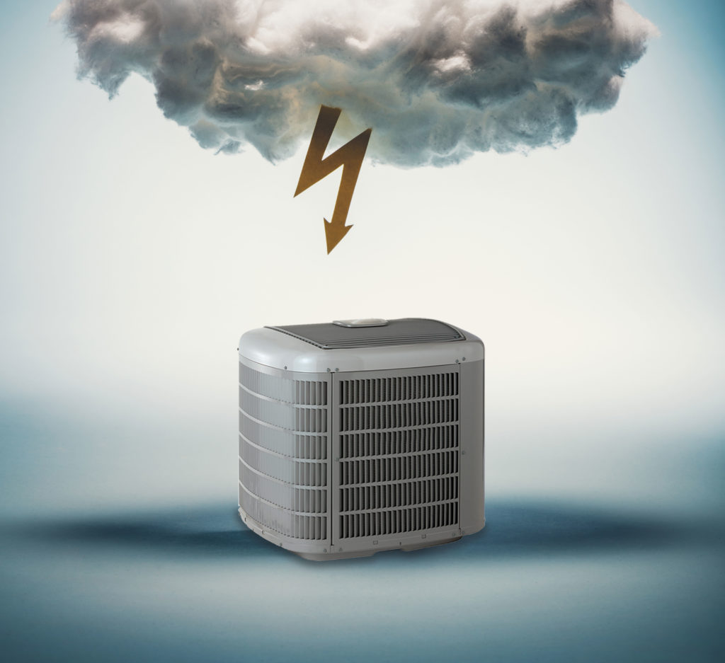 An HVAC system with a storm cloud hanging over it