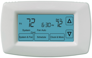 A close up view of the screen of a touchscreen thermostat