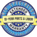 Air Specialist 10-year parts and labor extended warranty